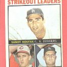 1964 Topps baseball card #5 Strikeout Leaders Sandy Koufax, Jim Maloney, Don Drysdale VG