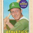 1969 Topps baseball card #655 Mike Hershberger EX Oakland A's