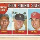 1969 Topps baseball card #658 Tom Hall, Bill Burbach, Jim Miles RC rookies EX