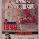 1998 St. Louis Cardinals Scorecard UNUSED, NM, Mark McGwire score card