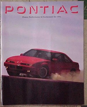 1991 Pontiac Automobile Sales catalog Firebird, Trans Am, Grand Prix, Sunbird, MORE! 89 pgs, NM