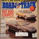Road & Track magazine April 2004 BMW 645 Ci, Mercedes Benz CLK500, Turbo Miata, best car 2004