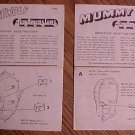 1975 Fundimensions instruction sheets (directions) for Werewolf & Mummy model kits