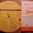 1960's Zenith Stereophonic Phonograph Model #MPS45-1 instructions operating guide