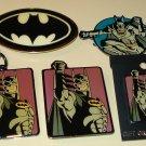 Batman magnets (2 diff), Batman keychain, Bat symbol magnet, Batman tie-tack style pin button, NM/M