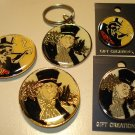 Penguin cloisonne/enamel pins (2 diff), Penguin Keychain, Penguin magnets (2 diff), NM/M Batman