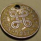 1957 Finland 1 Markka coin