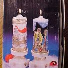 Christmas candles & stand ensemble set - Santa Sleigh Ride & Holy Night, MIB very detailed