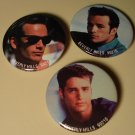 Beverly Hills 90210 pin button - 2 of Dylan (Luke Perry) & 1 of Brandon (Jason Priestley)