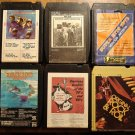 Rock & Pop music of the 1950's 60's & 70's 8-Track tape assortment, 6 tapes Beach Boys Turtles MORE