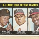 1967 Topps baseball card #240 LL - Matty & Felipe Alou, Rico Carty VG/EX (miscut)