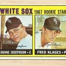 1967 Topps baseball card #373 Duane Josephson & Fred Klages RC EX Chicago White Sox