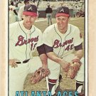 1967 Topps baseball card #396 Atlanta Braves Aces - Denis Menke & Tony Cloninger VG