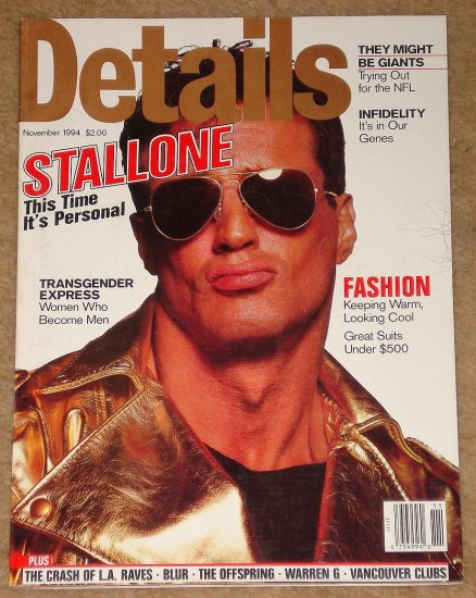Details Magazine - November 1994 Sylvester Stallone, Trying out for the NFL, Transgender people