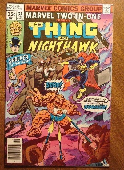 Marvel Two-In-One #34 The Thing & Nighthawk comic book - Marvel comics