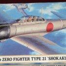 Hasegawa Mitsubishi A6M2B Zero Type 21 WWII Japanese fighter airplane model kit MIB Unassembled 1:72