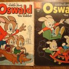 Dell Four (4) Color #'s 697 (1956) & 894 (1958) Oswald the Rabbit comic books