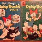 Dell Four (4) Color Disney Daisy Duck's Diary #659 (1955) & 858 (1957) comic books, Donald Duck
