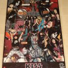 KISS rock music band illustrated poster, 22x35, rolled, 1980's? 90's? Gene Simmons, Paul Stanley