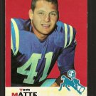 1969 Topps football card #47 Tom Matte EX (discoloration on front) Baltimore Colts