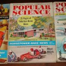 Popular Science magazine - 3 issues 1954 & 1955 - cars, tools, go-karts, more