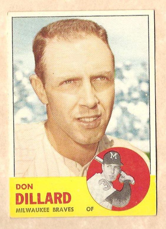1963 Topps baseball card #298 Don Dillard EX Milwaukee Braves