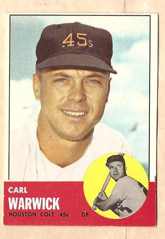 1963 Topps baseball card #333 Carl Warwick VG Houston Colt 45's