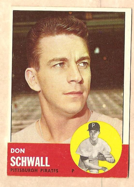 1963 Topps baseball card #344 Don Schwall VG/EX Pittsburgh Pirates