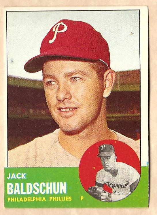 1963 Topps baseball card #341 Jack Baldschun EX Philadelphia Phillies