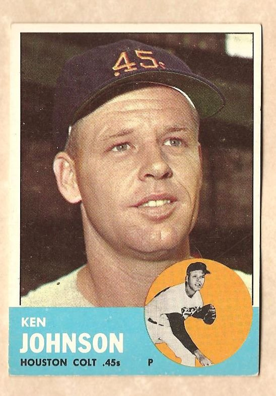 1963 Topps baseball card #352 Ken Johnson VG/EX Houston Colr 45's