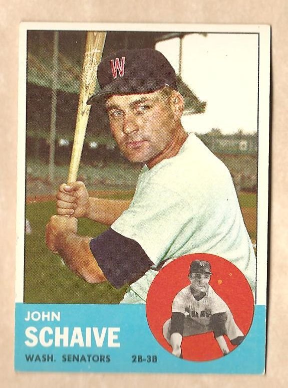 1963 Topps baseball card #356 John Schaive VG/EX Washington Senators