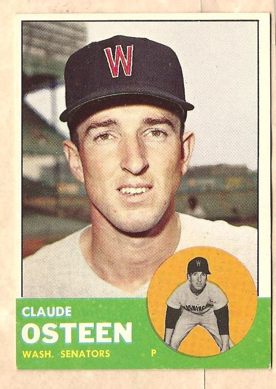 1963 Topps baseball card #374 Claude Osteen EX/NM Washington Senators