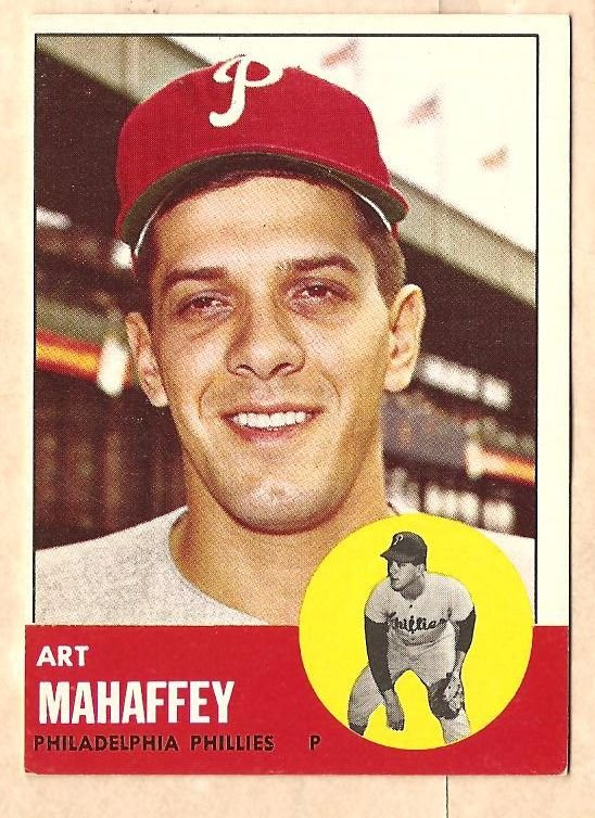 1963 Topps baseball card #385 Art Mahaffey EX Philadelphia Phillies