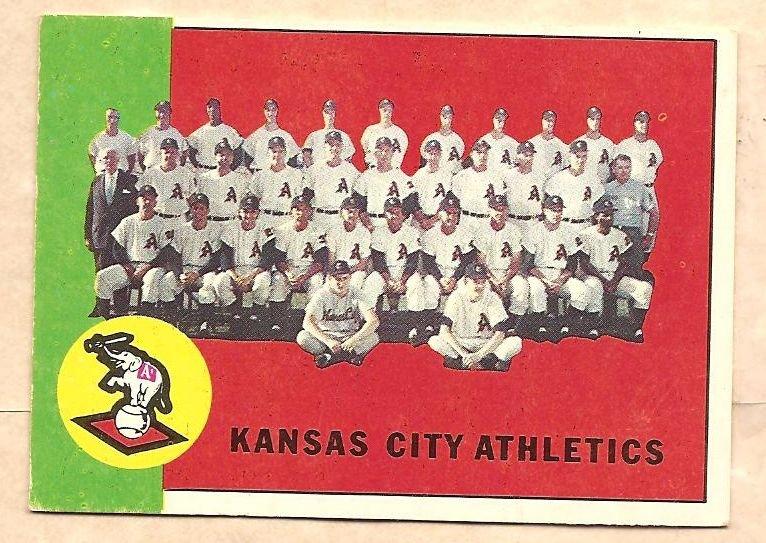 1963 Topps baseball card #397 Kansas City A's Athletics team card EX