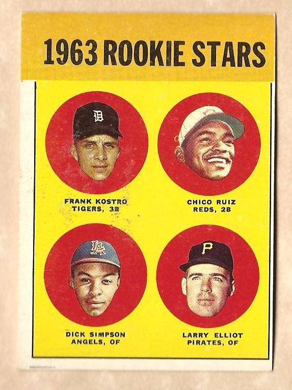 1963 Topps baseball card #407 Rookie Stars Frank Kostro Chico Ruiz Dick Simpson Larry Elliot EX/NM