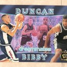 1998 Press Pass Double Threat promo promotional basketball card Tim Duncan & Mike Bibby NM/M