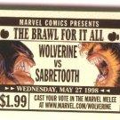 Marvel comics Wolverine vs Sabretooth battle ringside ticket 1998 NM/M