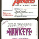 Marvel Comics Avengers I.D. card (Identification Identicard) 1987 NM/M