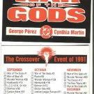 DC comics War of the Gods checklist card, 1991, NM/M