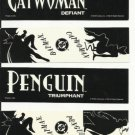 DC Comics Batman & Catwoman, Batman & Penguin bookmarks, 1992 NM/M set of 2