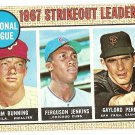 1968 Topps baseball card #11 Strikeout Leaders Jim Bunning Ferguson Jenkins Gaylord Perry VG