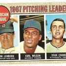 1968 Topps baseball card #10 Pitching Leaders Jim Lonborg Earl Wilson Dean Chance VG lt crease