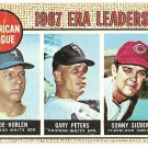 1968 Topps baseball card #8 ERA Leaders Joe Horlen Gary Peters Sonny Siebert G/VG creased