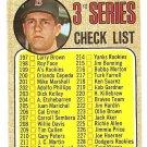 1968 Topps baseball card #192 3rd series checklist - UNMARKED Carl Yaz Yastrzemski EX