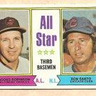 1974 Topps baseball card #334 All Star 3rd Basemen Brooks Robinson Ron Santo VG