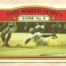 1972 Topps baseball card #225 1971 World Series Game #3 Manny Sanguillen EX-