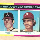 1975 Topps baseball card #312 (B) Strikeout Leaders - Nolan Ryan & Steve Carlton G/VG