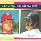 1975 Topps baseball card #313 (B) Leading Fireman Terry Forster Mike Marshall NM