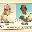 1978 Topps baseball card #202 (B) Home Run Leaders George Foster Jim Rice NM