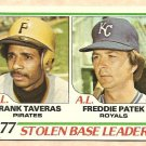 1978 Topps baseball card #204 Stolen Base Leaders Frank Traveras Freddie Patek EX/NM